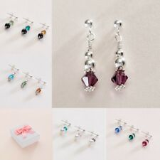 Birthstone Earrings, Sterling Silver Posts, Butterfly Backs, Pearls and Crystals