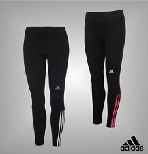 New Ladies Adidas Quest ClimaLite 3 Stripe Long Running Tights Bottoms Size 6-22