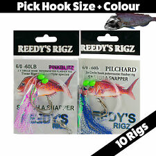 10 Snapper Rig Paternoster Circle Hook Bottom Fishing Pre Made Flasher rig Bait
