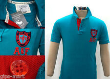New A F Abercrombie & Fitch Collar Polo T Shirt Cotton Sea Color Best Quality