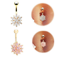 Fashion Flower Crystal Dangle Body Piercing Navel Bars Belly Button Ring Silver