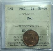 1962 Canadian One Cent Coin ICCS Graded MS-64 Red