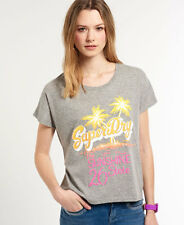New Womens Superdry Sunshine State T-shirt Grey Grindle
