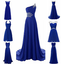 New Royal Blue Plus Size Chiffon Wedding Bridesmaid Dress Evening Formal Gown