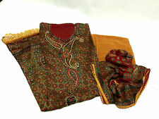 PURE Broket Silk INDIAN PAKISTANI SALWAR KAMEEZ WEDDING SUIT MATERIAL Unstitched