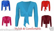 Womens Plain Front Tie Ladies Short Sleeves Bolero Top Cropped Cardigan Shrug*ti
