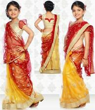 SareeGalaxy Yellow Red Net Readymade Kids Saree With Blouse (CKIC127)