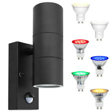 6W Coloured LED Black PIR Twin Outdoor Wall Light Movement Sensor Garden Light