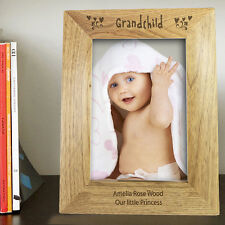 NEW PERSONALISED WOODEN PHOTO FRAME CHOOSE 3 DESIGNS AND 3 SIZES GRAND PARENTS