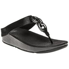 New Womens FitFlop Metallic Black Superchain Leather Toe Post Sandals Flip Flops