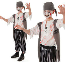 Childrens Kids Zombie Pirate Boy Fancy Dress Costume Halloween Outfit 6-10 Yrs
