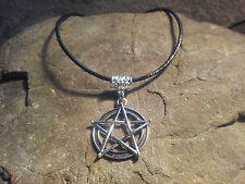Pentagram leather cord tibetan style charm retro hippy goth wiccan witch choker