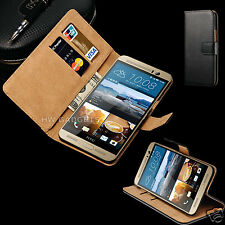 Genuine Real Leather Flip Wallet Case Cover Stand for HTC One A9
