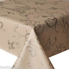 PVC TABLE CLOTH ROMA SILVER CREAM SCROLL FLORAL WIPEABLE PROTECTOR PLASTIC VINYL