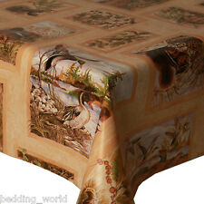 PVC TABLE CLOTH DUCKS BROWN LEAVES WOODLAND TRADITIONAL WIPEABLE PROTECTOR VINYL