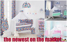 DOUBLE-SIDED COT COTBED BEDDING NURSERY SET 7 PCS PIECES QUILT BUMPER & CONOPY