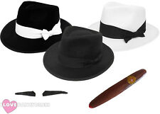 DELUXE GANGSTER TRILBY HAT ADD MOUSTACHE CIGAR 1920S FANCY DRESS 55CM 58CM 60CM