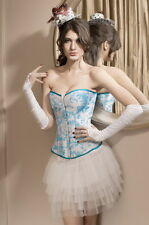 Sexy Women's Blue & White Floral Ladies Overbust Corset Underwear Lingerie