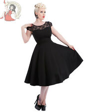 HEARTS & ROSES H&R evening 50's LACE rockabilly DRESS cocktail BLACK