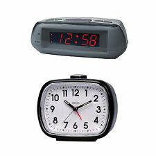 Acctim Alarm Clock Analogue Bell Alarm Desk Digital LED Display Snooze Time New