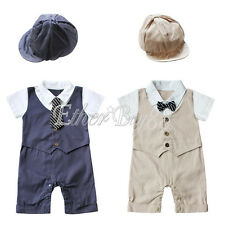 Toddler Baby Boy One Piece Clothes Romper Bodysuit Jumpsuit Bow Tie + Hat Outfit