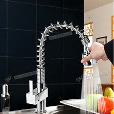 LUXURY Swivel Spout Mono Kitchen Sink Mixer Taps Single Twin Lever Chrome Tap