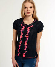 New Womens Superdry Folk Embroidery Blouse Eclipse Navy