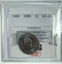 1986 Canadian Five Cent Coin Mart Graded MS-64