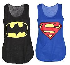 Womens Ladies Girls Sleeveless Batman and Superman Hero Comic Vest Fancy Dress