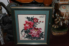 Superb Asian Chinese Watercolor Painting-Red Flowers-Signed Stamped Symbols-#2