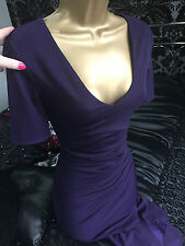 Purple Pencil Midi Wiggle Party Evening Ruched Bodycon Stretch Dress BNWT 8 £65