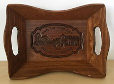 Vintage Wood Carved Bread Serving Tray Give Us This Day Our Daily Bread