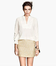 H&M Conscious Exclusive Light Beige Jacquard Weave Lyocell Skirt UK 12 EUR 38