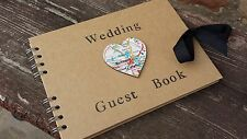 Wedding Guest Book/Photo Album - Hand stamped with Map Heart Detailing