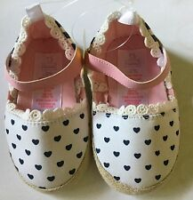 Baby Girl Pram White Shoes with Navy Hearts detail sizes 9-12 & 12-18 months