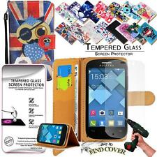 Leather Wallet Case + Genuine Tempered Glass Screen Protector For Alcatel POP C3