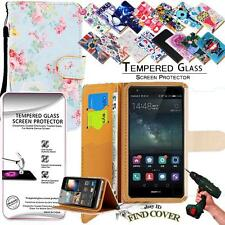 Leather Wallet Case + Tempered Glass Screen Protector For Huawei Mate S