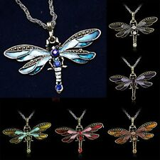 2019 Dragonfly Pendant Necklace Long Chain Crystal Rhinestone Wing Women Gift