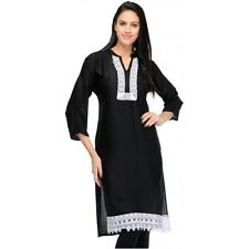 Yogalz Women Black Poly Rayon Designer Casual Party Wear Girls Kurti KRT6028_Blk