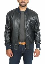 Mens Classic Fitted Bomber Leather Jacket Designer College Boy Varsity NAVY BLUE