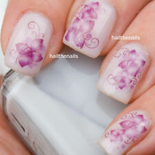 Nail WRAPS Nails Art Water Transfers Decals Lilac Purple Lily Flower 011 Wedding