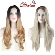 """22"""" Women Ombre Blonde Synthetic Lace Front Wigs Long Synthetic Hair Party UK"""