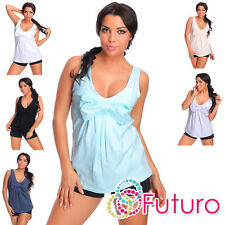 Womens Summer Vest Top With Bow Sleeveless Cotton T-Shirt One Size 8-12 FT2069