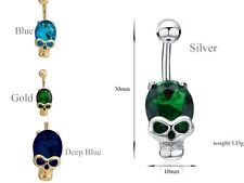 Body Piercing Surgical Steel Belly Bars Navel Button Ring Crystal Skull