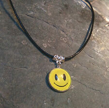 Smiley rave face Black  Leather Cotton Tibetan Charm Retro Hippy Choker Handmade