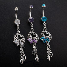 Body Piercing Surgical Steel Belly Bars Navel Button Ring Hollow Water Drop