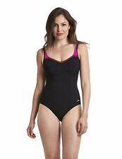 Speedo Sculpture Crystaluxe Swimsuit Swimming Costume Black Pink 1 Piece NEW