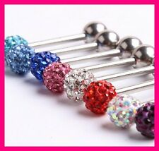 PIERCING LANGUE CYRSTAL SHAMBALLA SURGICAL STEEL CZECH BALL BARBELL TONGUE RING