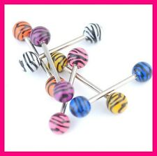 PIERCING LANGUE ZEBRE TIGRE TIGER ZEBRA LEOPARD PRINT BARBELL TONGUE STEEL
