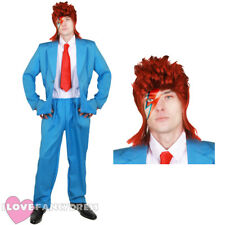 MENS 1970S GLAM ROCK COSTUME JACKET TROUSERS AND WIG POP ICON FANCY DRESS SUIT